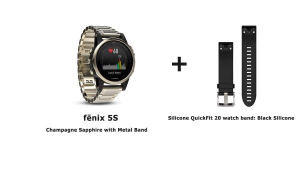 Модель часов garmin fenix 5s metal shampaigne с сменным черным ремешком