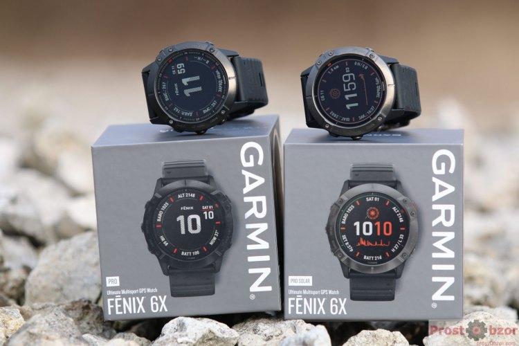 Сравнение стекла часов Garmin Fenix 6X Pro против 6X Pro Solar