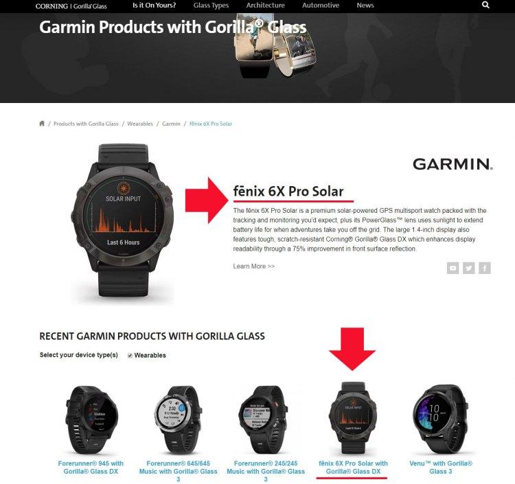 Защитное стекло Corning Gorilla Glass DX часов Garmin Fenix 6X Pro Solar