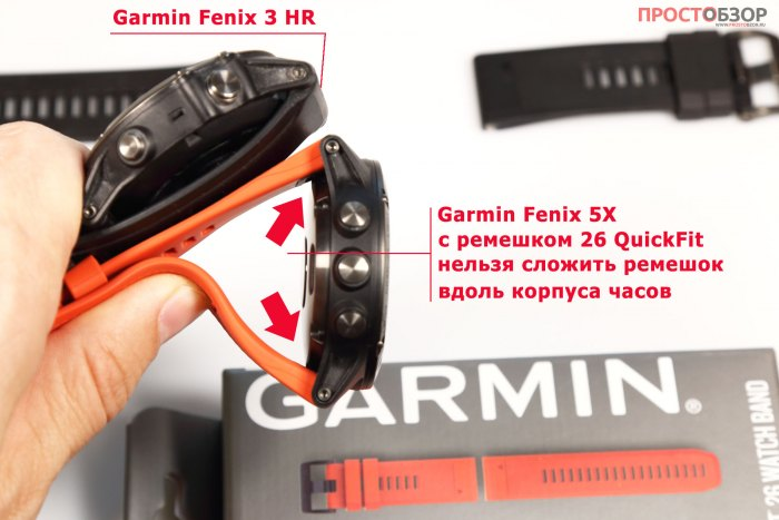 Сравнение ремешков QuickFint 26 для Fenix 5X и ремешка для Fenix 3 HR