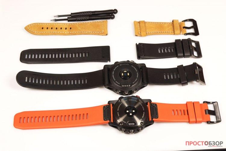 Комплект силиконовых и кожаных ремешков для Garmin Fenix 5x, 3 HR