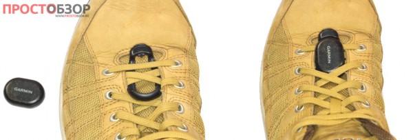 Установка шагомера Garmin Foot Pod на кроссовках