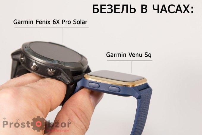 Сравнение безеля часов Garmin Fenix 6X vs Venu Sq
