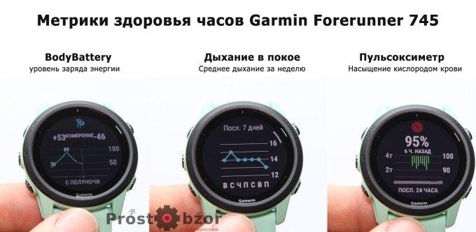 Метрики здоровья владельца часов Garmin Forerunner 745