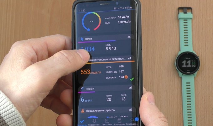 Работа с программой Garmin Connect Mobile