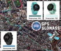 Тест записи GPS + GLONASS для часов  Garmin Forerunner 745 vs 945 vs 245