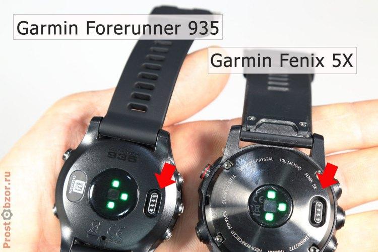 USB контакты для заряда и обмена информации в корпусе часов Garmin Fenix 5X и Garmin Forerunner 935