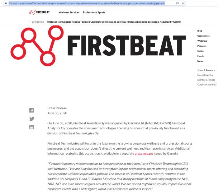 Покупка компании FirstBeat и поглощение Garmin