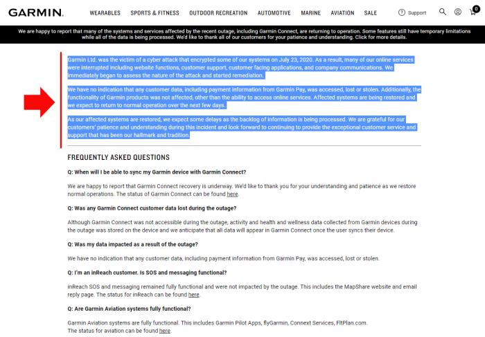 Официальный пресс-релиз Garmin про атаку и взлом серверов