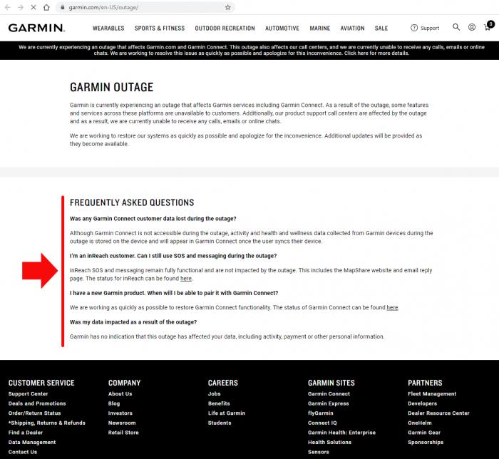 Официальный комментарий Garmin про взлом серверов