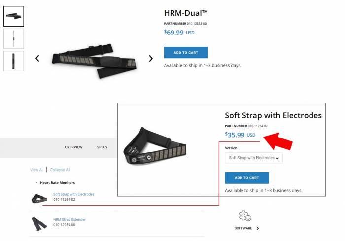 Стоимость запасного ремня кардиодатчика Garmin HRM-Dual