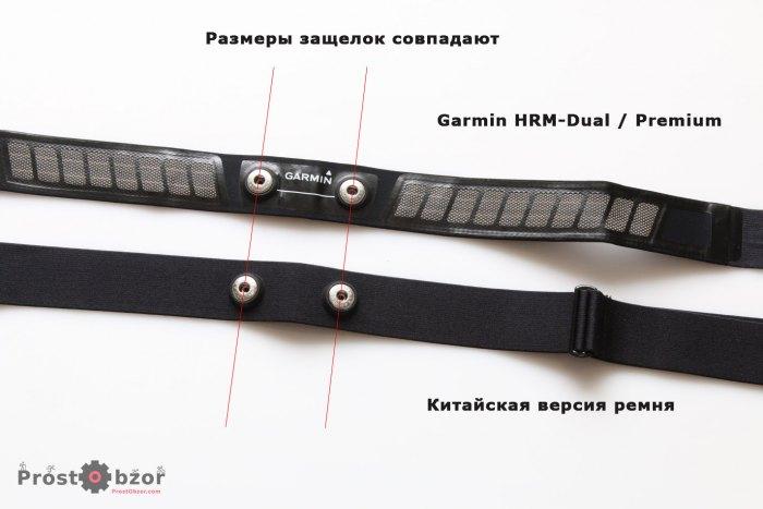 Размеры посадочных отверстий кардиодатчиков Garmin и китайского ремешка