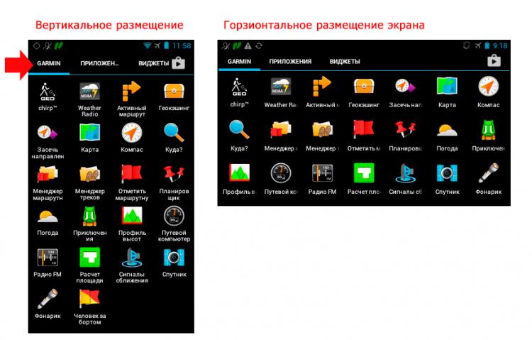 Garmin Monterra - вертикальный и горизонтальный экран прибора