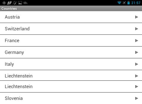 Garmin Monterra - список стран для приложения PeakFinder