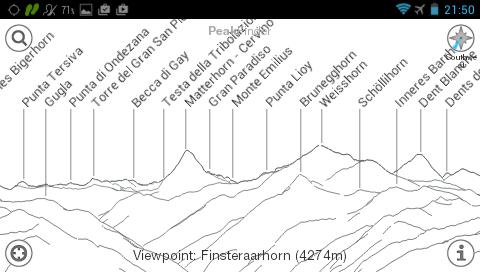 Garmin Monterra - список пиков с указание высот - PeakFinder