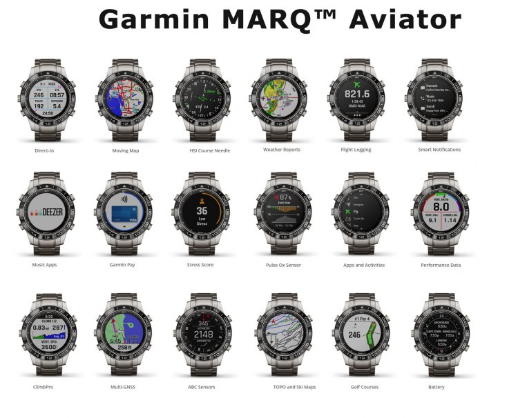 Экраны часов Garmin MARQ Aviator