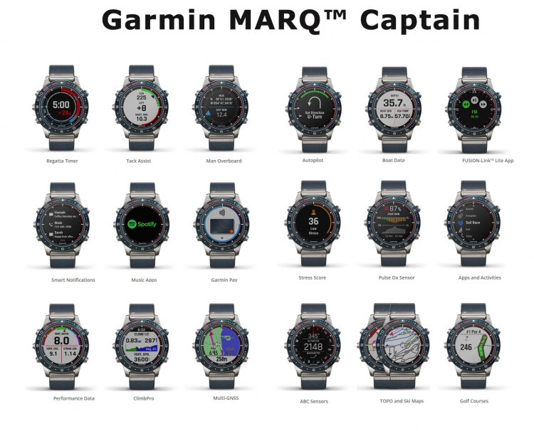 Экраны часов Garmin MARQ Captain