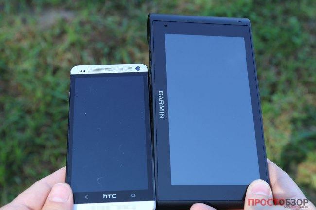 Сравнение диагоналей смартфона и навигатора