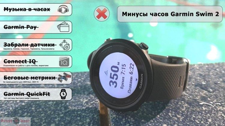 Минусы часов Garmin Swim 2