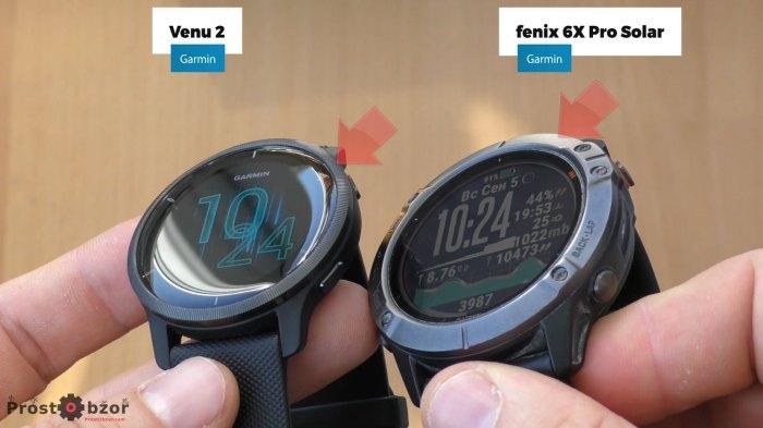 Размеры и высота безеля часов Venu 2 и Fenix 6X