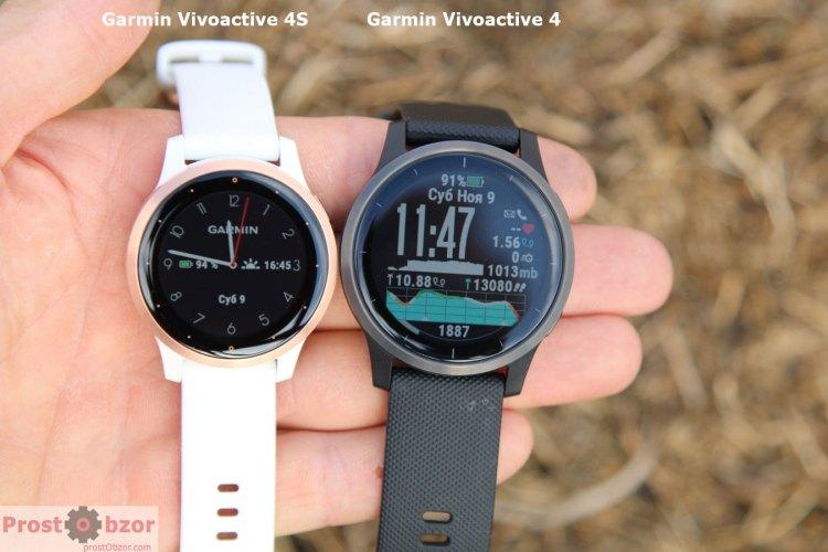 Сравнение размеров Garmin Vivoactive 4, 4S