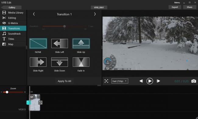 Настройки переходов между видео в Garmin Virb Edit