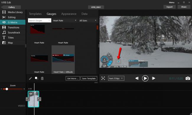 Перемещение элементов G-Metrix на экране видео