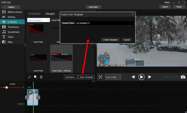 Сохранение шаблона редактирование размещения датчиков G-Metrix в Garmin Virb Edit