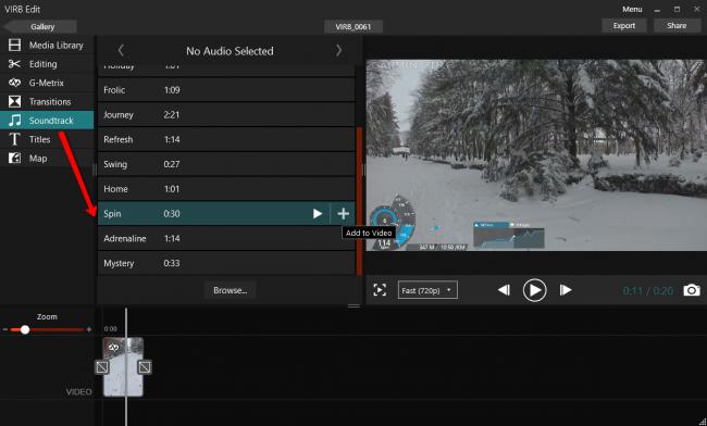 Наложение музыки на видео в программе Garmin Virb Edit