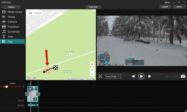 Привязка видео к маршруту на карте в Garmin Virb Edit