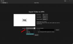 Настройки сохранения видео Virb Edit -заставки