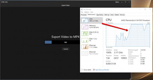 Загрузка Процессора в обработке видео Garmin Virb Edit