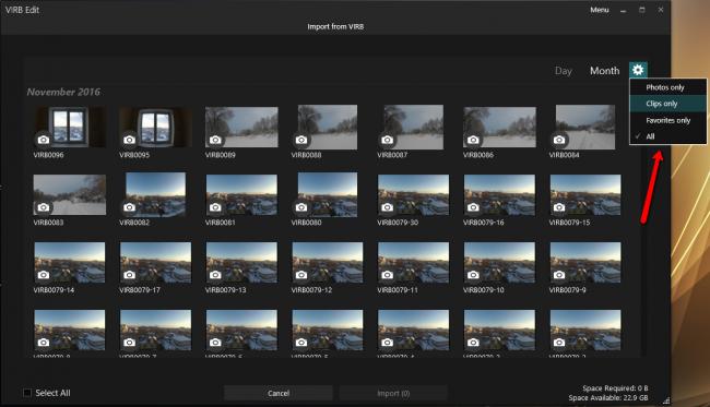 фильтр выбора меди-материала для Garmin Virb Edit