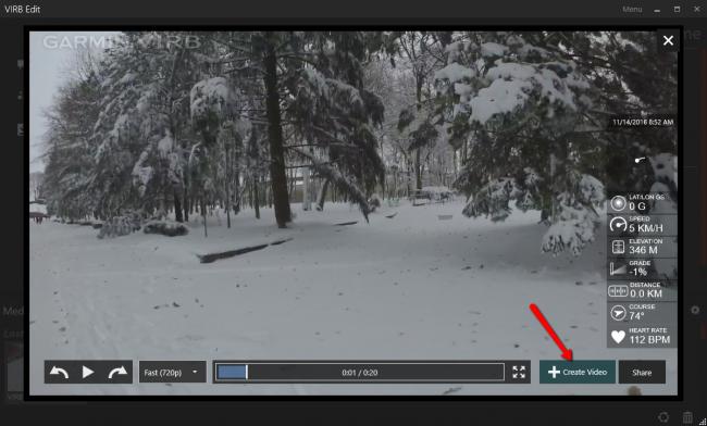 Добавление видео-файла в проект Garmin Virb Edit