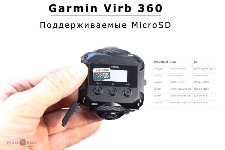Поддержка карт MicroSD для экшн-камеры Virb 360
