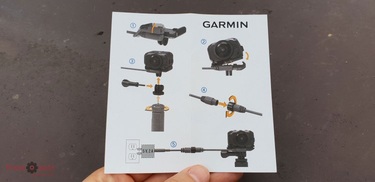 Схема сборки Powered vehicle mount  для камеры Garmin Virb 360