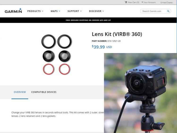 Защитные линзы для камеры Garmin Virb 360