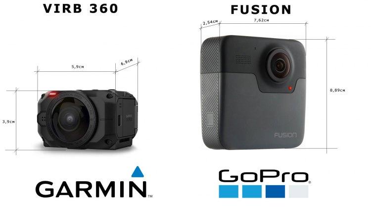 Сравнение размеров 360 градусных экшн-камер Garmin Virb  360 vs GoPro Fusion