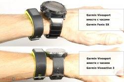 Сравнение трекера Garmin Vivosmart 3 vs Fenix 5X, Vivoactive 3 на руке