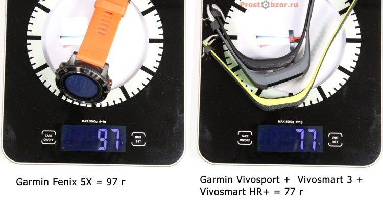 Сравнение веса часов Fenix 5x и фитнес-трекеров Garmin Vivo