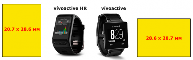 Разрешение и размеры экрана  Garmin Vivoactive HR или Garmin Vivoactive