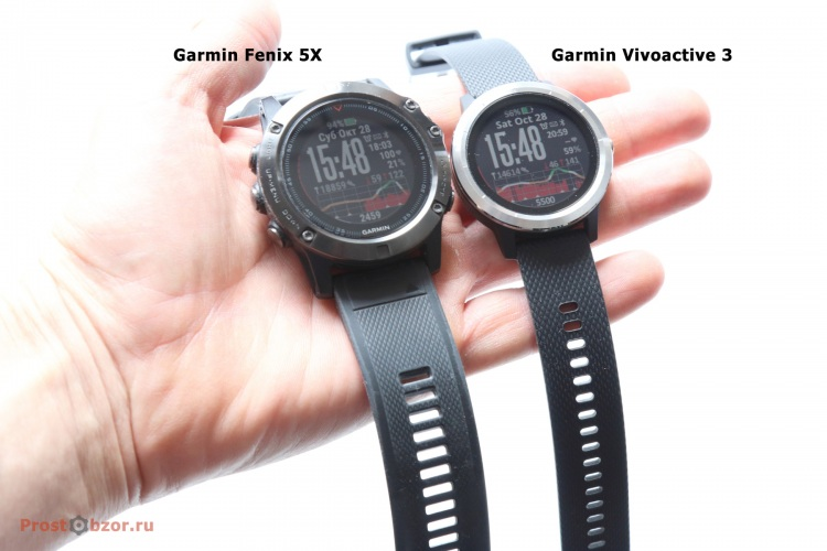 Размеры часов на ладони - Garmin Vivoactive 3 , Garmin Fenix 5X