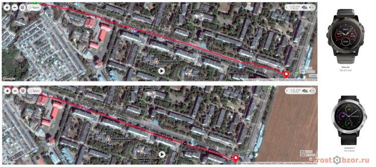Тест GPS навигации для часов Garmin Vivoactive 3 vs Garmin Fenix 5X