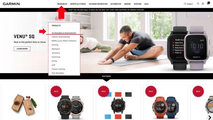 Выбро часов на сайте Garmin