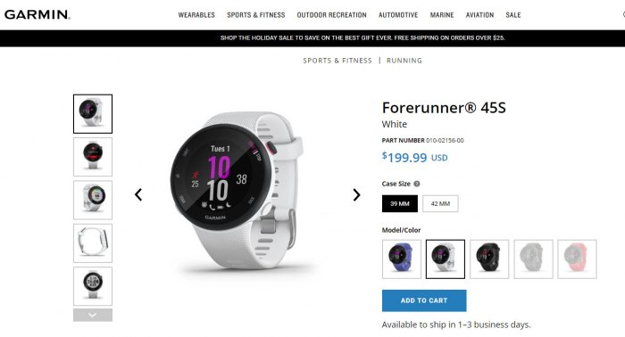 часы Garmin Forerunner 45S