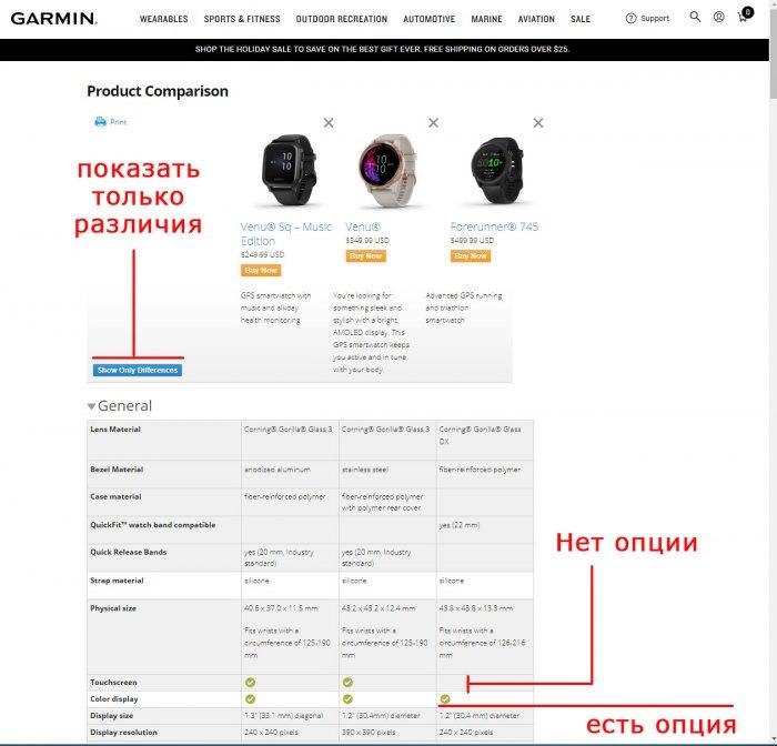 Как сравнить модели часов Garmin