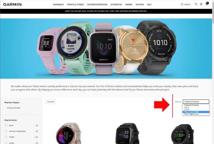 Сортировка цены на часы Garmin