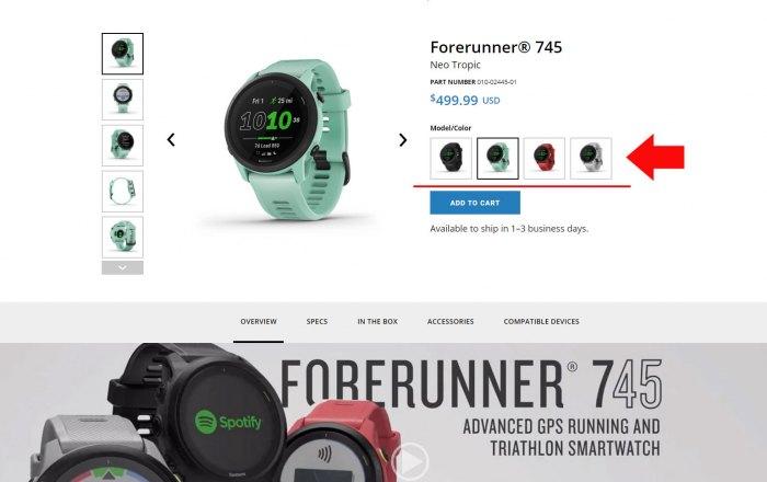 Выбор модели часов Garmin Forerunner 745