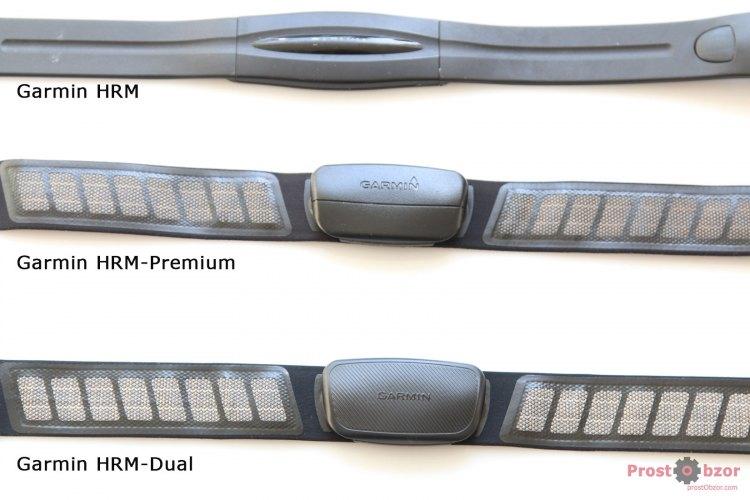 Сравнение моделей начальных кардио-ремней Garmin -вид спереди