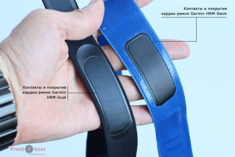 Кардио-пульсомтер для учета пульса в бассейнах Garmin HRM-Swim  - контакты, покрытие